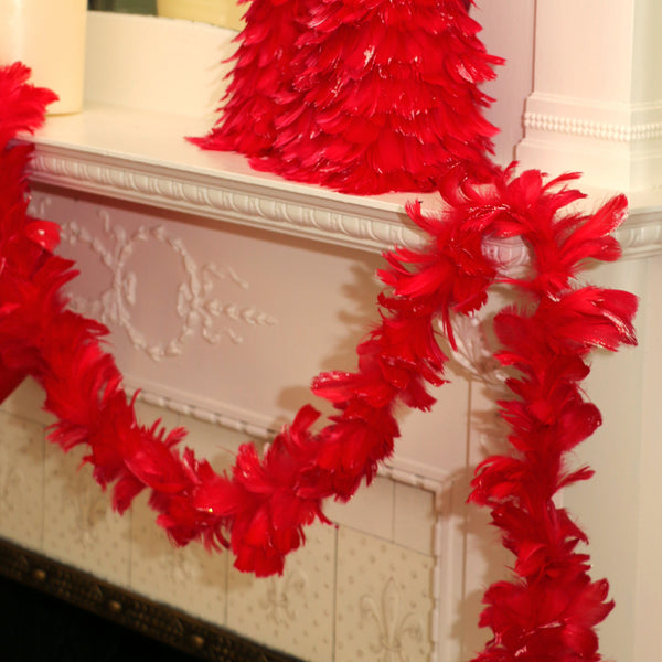 Feather Garland w/ Goose Coquille - Red/Opal Lurex
