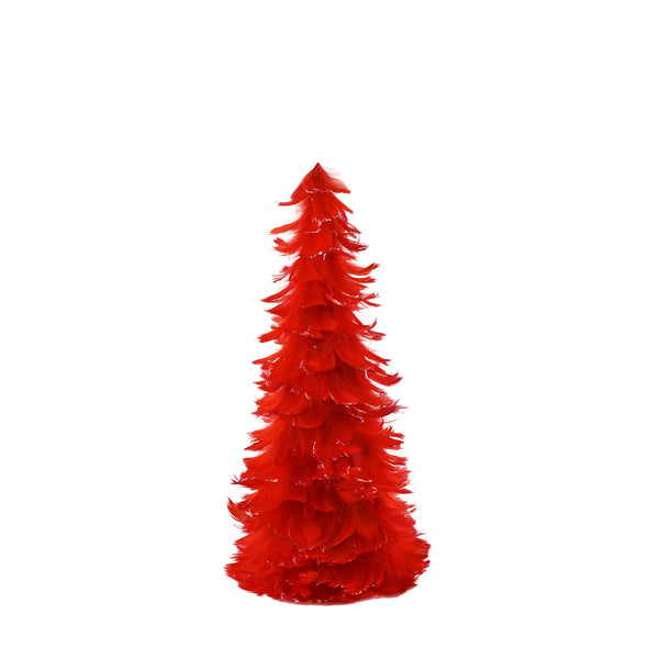 18 Inch Tipped Coquille Feather Tree - Red/Opal Lurex