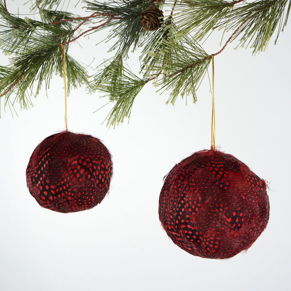 Guinea Feather Ornament - Dyed Red 4 Inch Ball