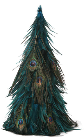 18 Inch Hackle-Peacock Eye Feather Tree
