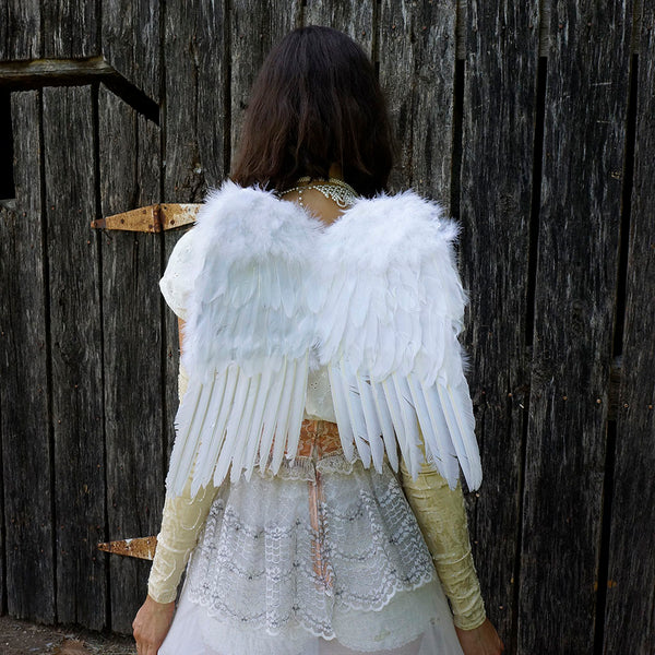 Small White Angel Costume Wings - Halloween Cosplay Feather Wing for Adults-Kids