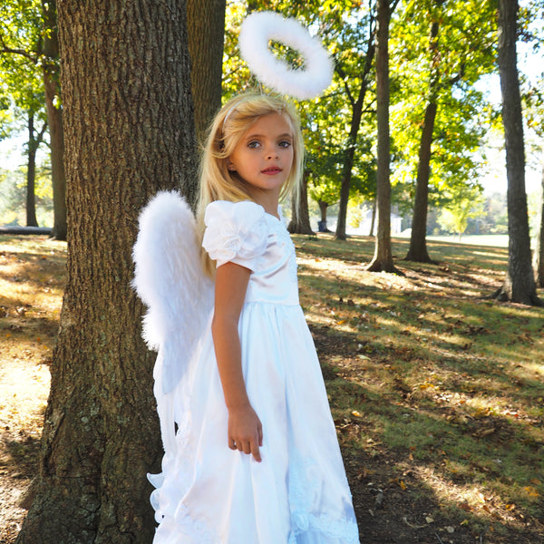 White Angel Fairy Costume Wings - Small Adult and Teens Halloween Costume & Cosplay Feather Wings