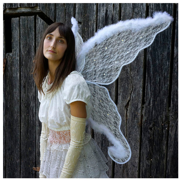 Adult White Angel Costume Wings - Large Fairy Butterfly Lace and Feather Wings, Sexy Halloween or Cosplay Accessories, Great Props for Photos or Party.