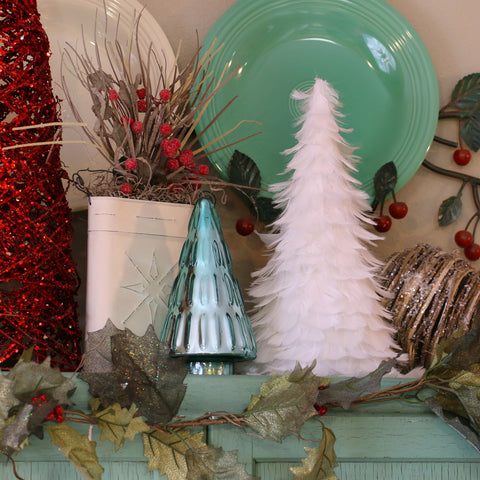 12 Inch Goose Coquille Feather Tree - White