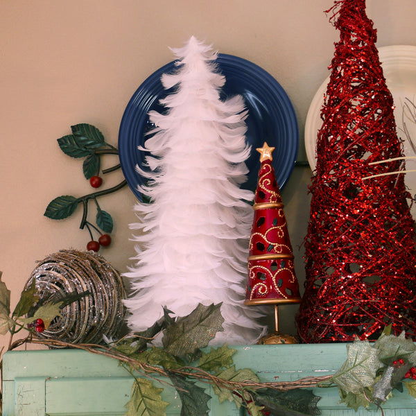 18 Inch Goose Coquille Feather Tree - White