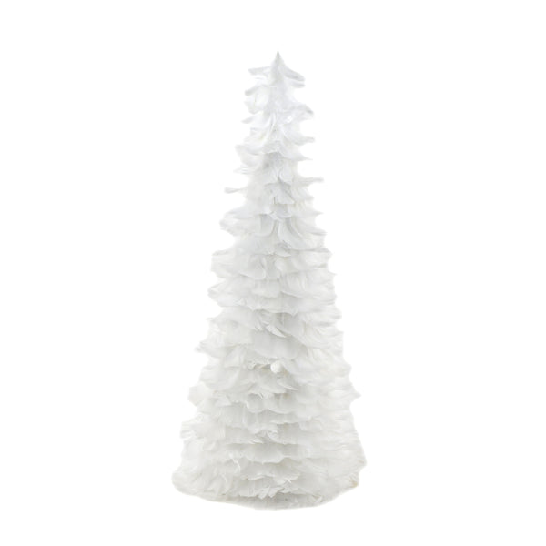 24 Inch Goose Coquille Feather Tree - White