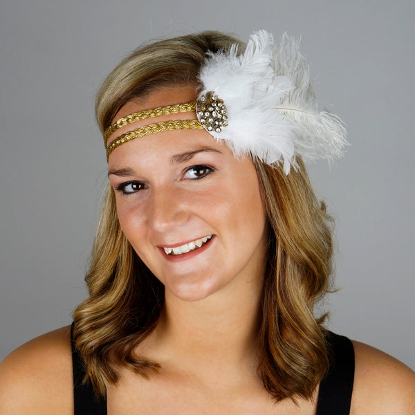 Flapper Headpiece 1920's Costume Headband - Gatsby White Gold Feather Women's Accessory