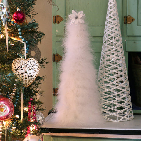 18 Inch Marabou Feather Tree - White