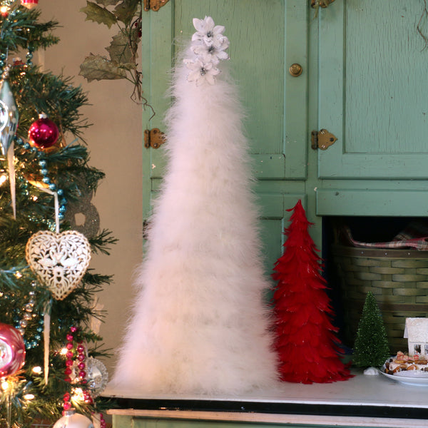 24 Inch Marabou Feather Tree - White