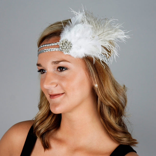 Flapper Headpiece 1920's Costume Headband - Gatsby White Silver Feather Women's Accessory