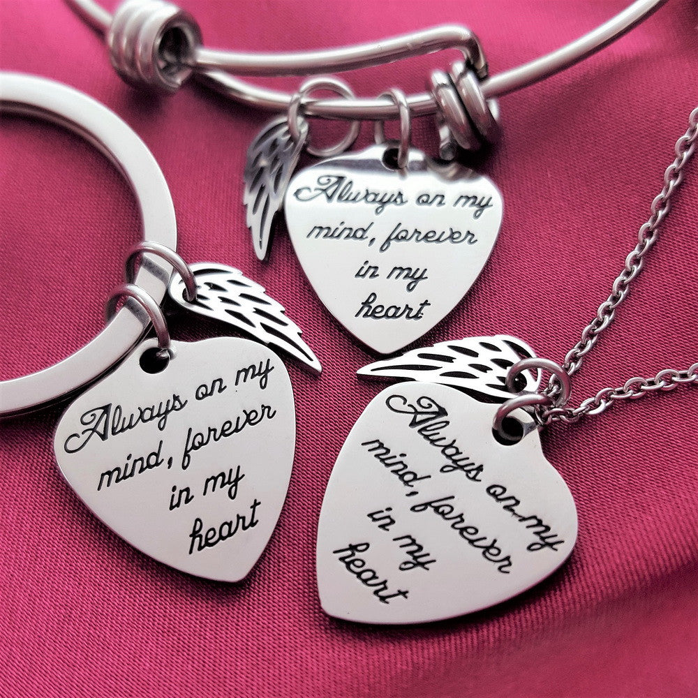 3-PACK: Always On My Mind Bracelet, Necklace and Key Chain