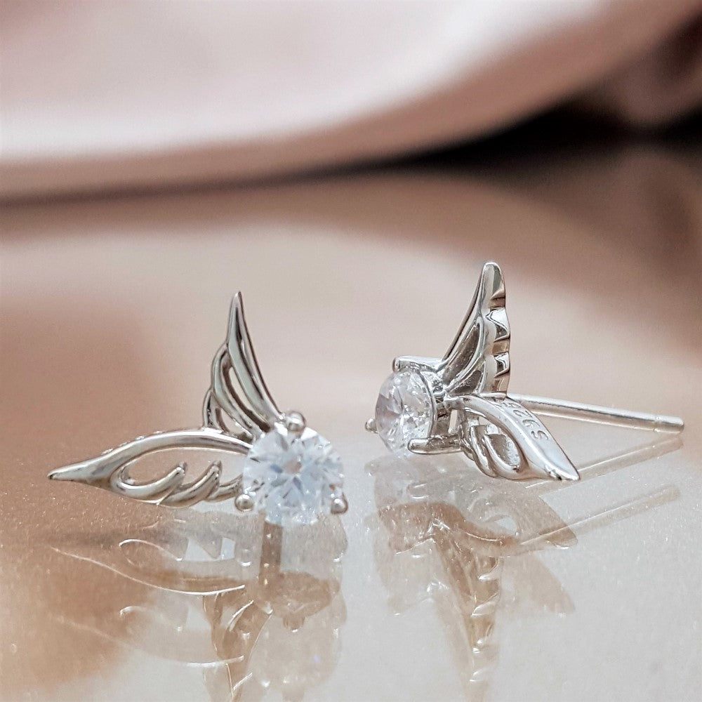 Sparkle Of Life Angel Wing Earrings