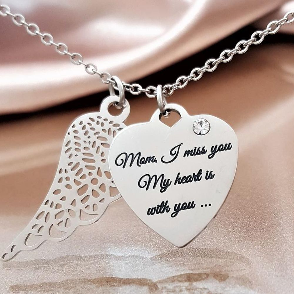 miss you mom angel wing necklace linda s stars