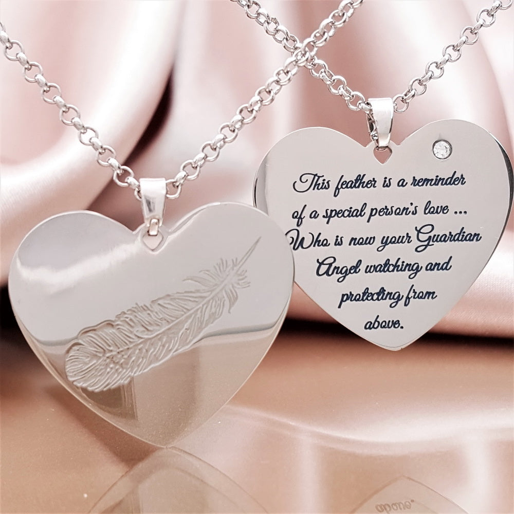 38b5c83a24 I'm With You Angel Feather Guardian Necklace - Linda's Stars