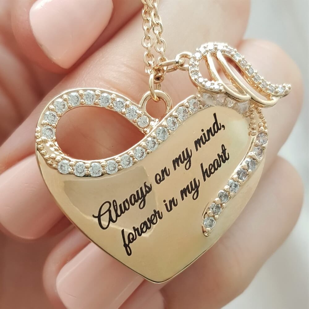 cf9fd639e Always in My Heart Angel Wing Necklace - Linda's Stars