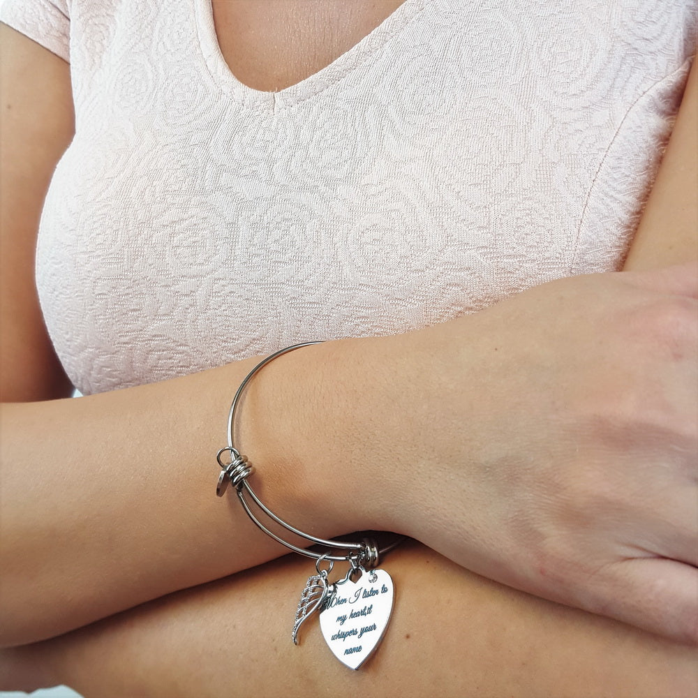 Whispering Your Name Angel Wing Bracelet