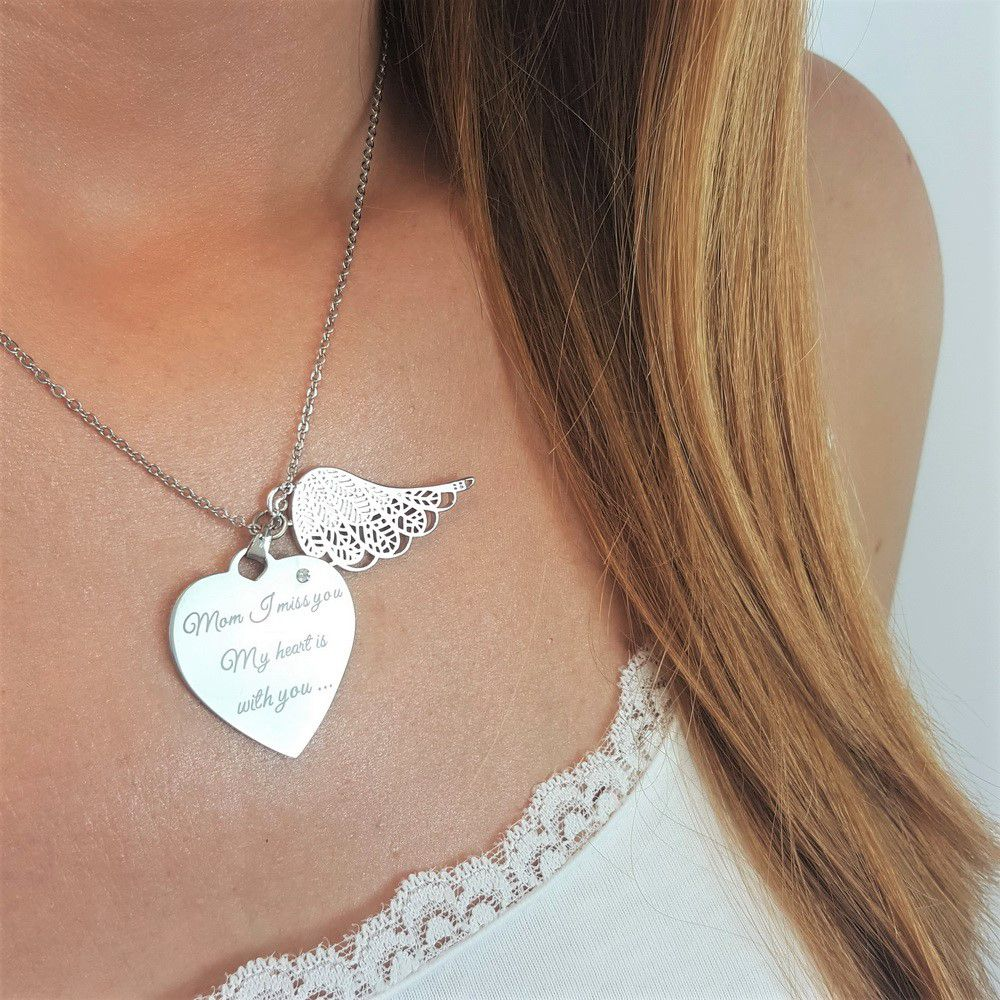Miss You Mom Angel Wing Necklace