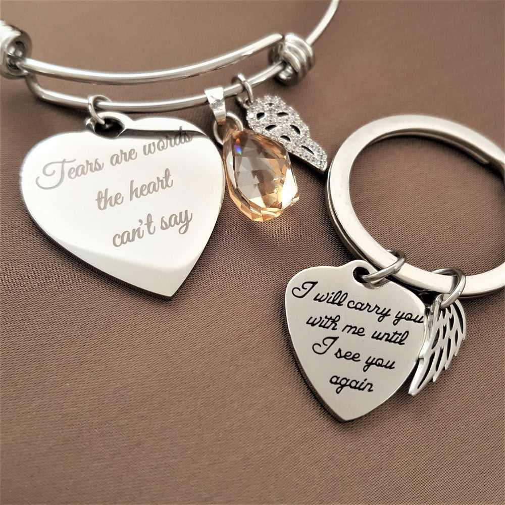 2 PACK: Straight from the Heart Bracelet & Carry You With Me Key Chain