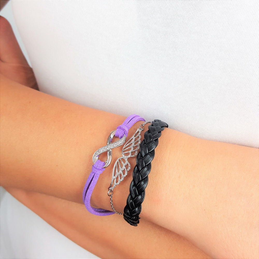 Timeless Friendship Angel Bracelet - Purple