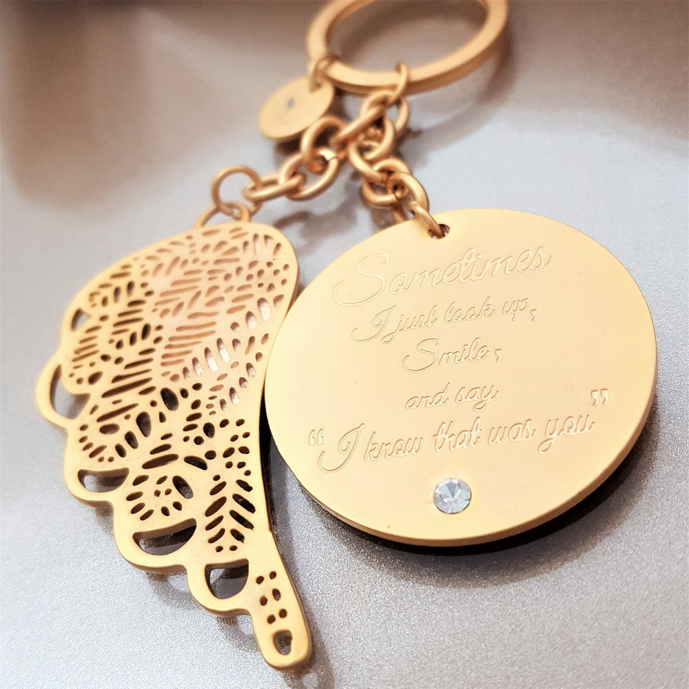 Forever Close To Me Guardian Angel Keychain