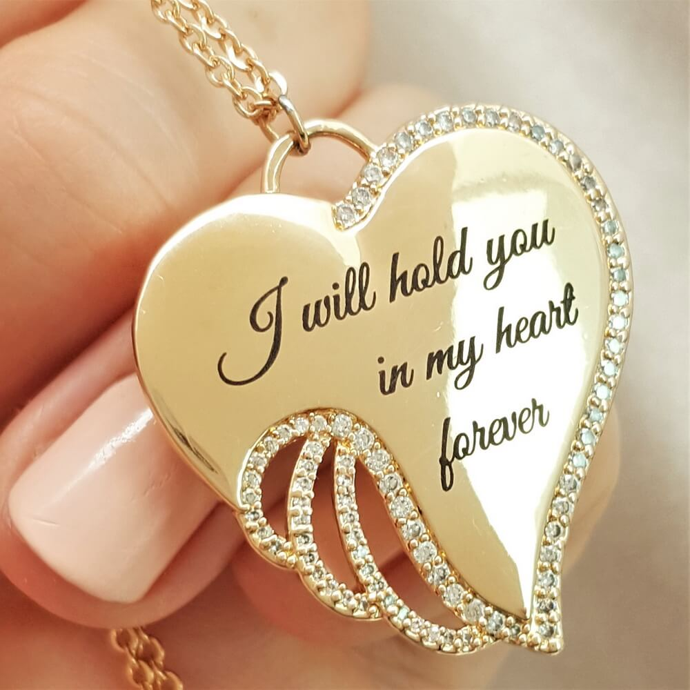 Treasured in My Heart You'll Stay Angel Necklace