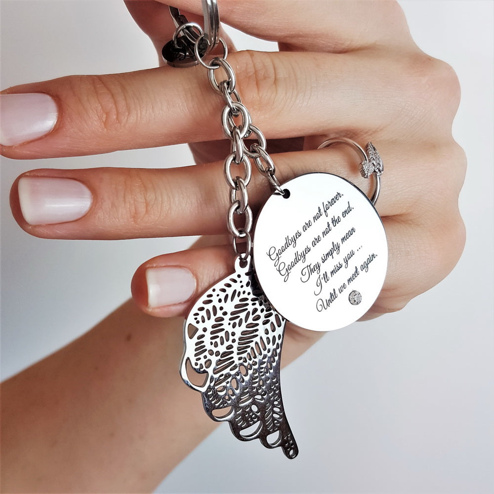 Goodbyes Are Not Forever Angel Keychain