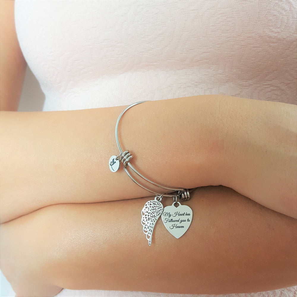 Left My Heart With You Angel Bracelet