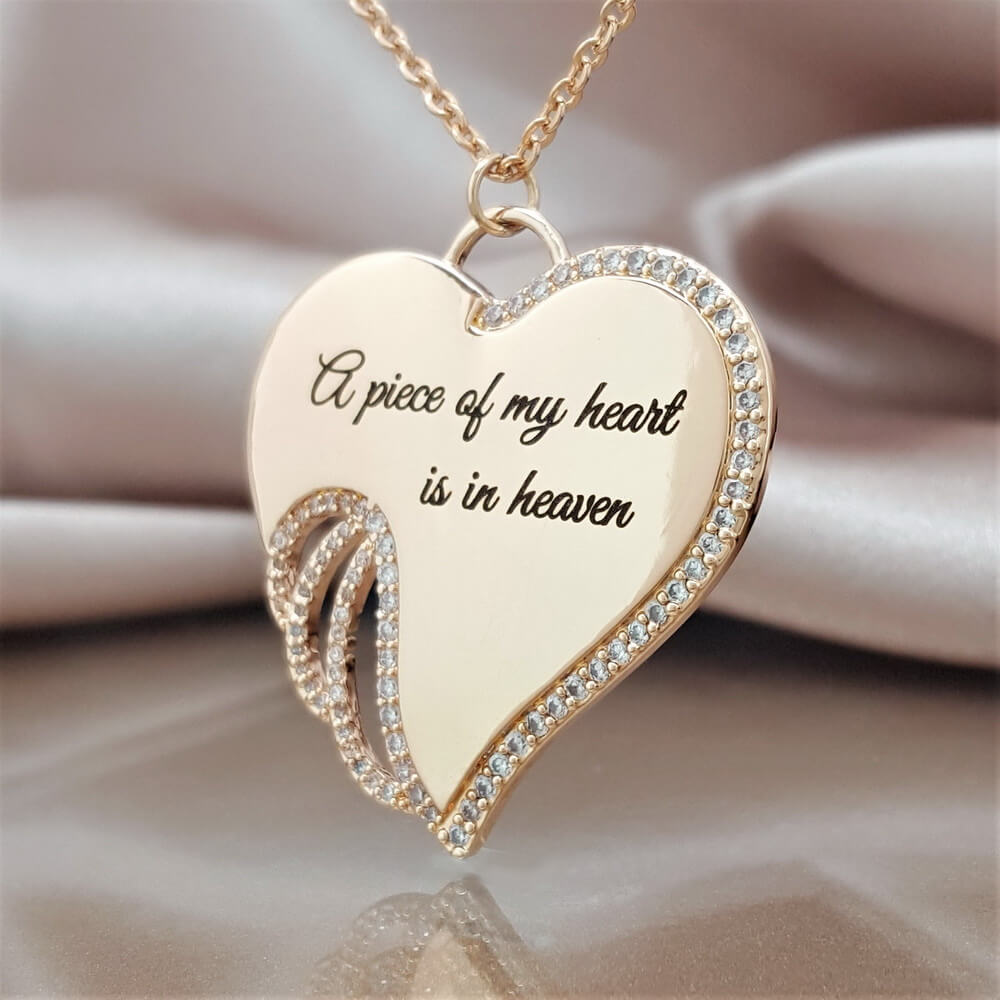 e08f6bb301a02 5 PACK: A Piece of My Heart is in Heaven Angel Necklace - Champagne Gold