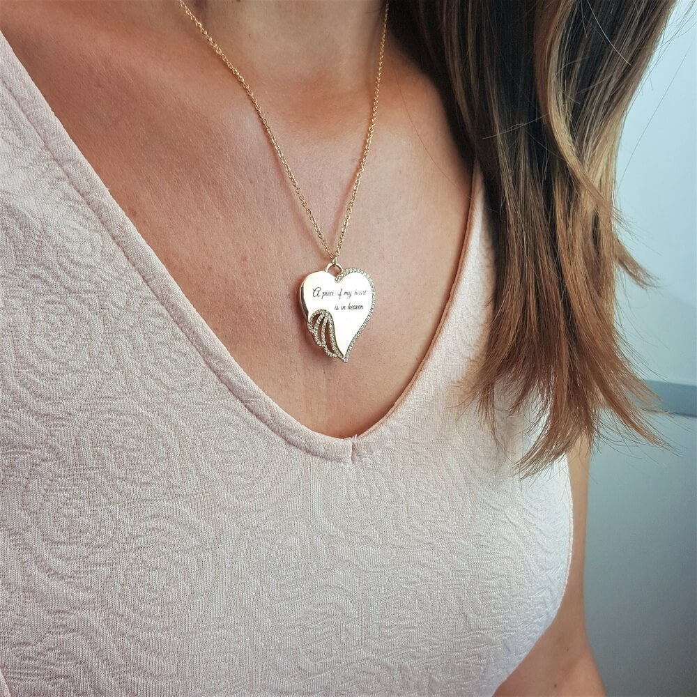 0140d2c2e88d2 5 PACK: A Piece of My Heart is in Heaven Angel Necklace - Champagne ...