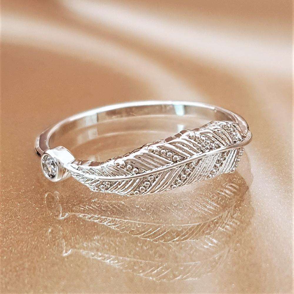 Feather of Hope Angel Ring Sterling Silver
