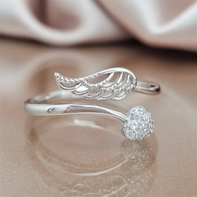 Forever by My Side Angel Ring - Sterling Silver