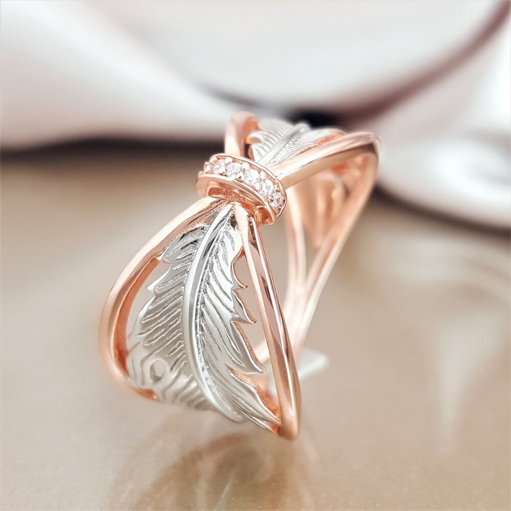 1e52790c682e9 I Have an Angel by My Side Feather Ring