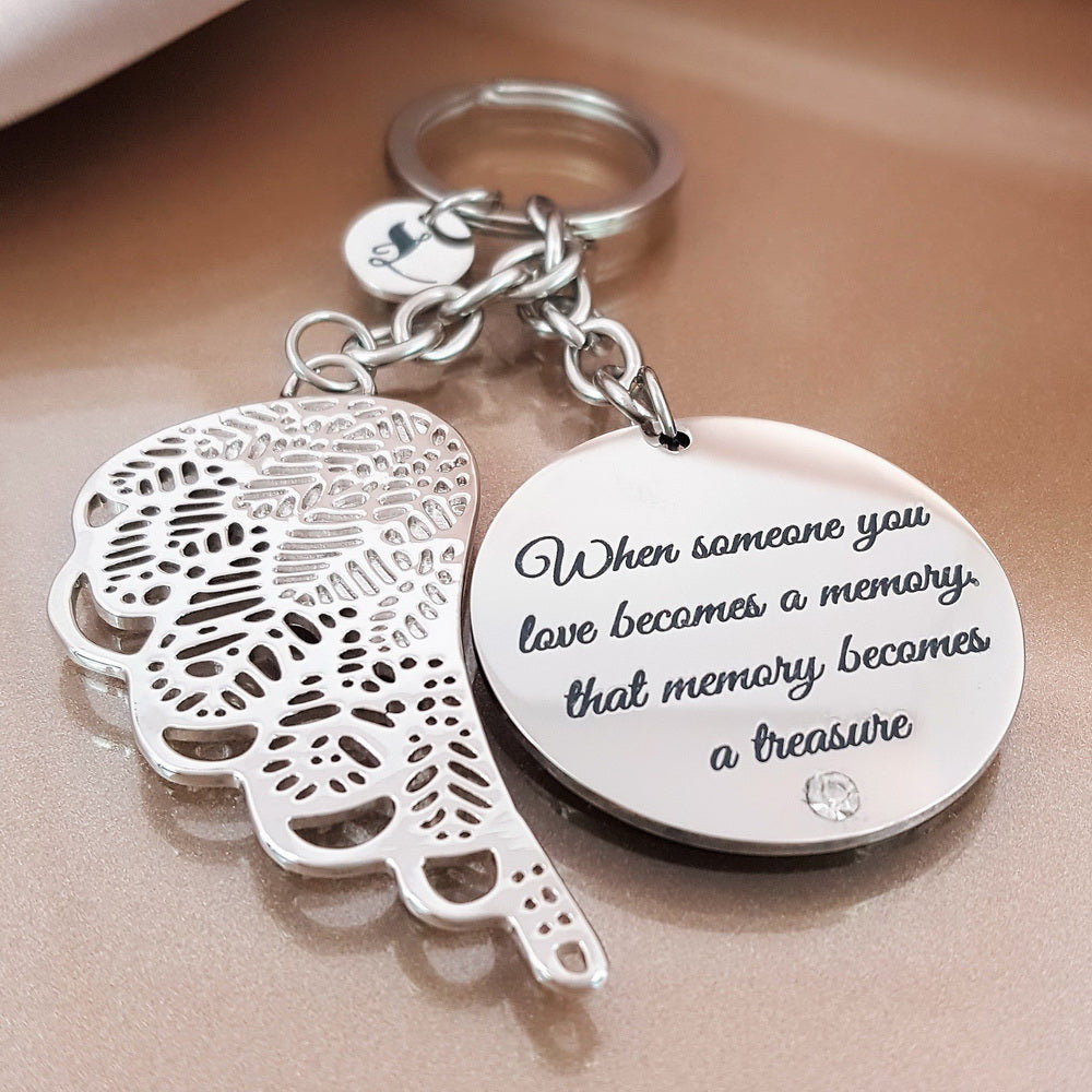 Love Leaves A Memory Angel Keychain