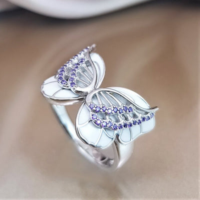 On The Wings Of Butterflies Ring - Silver