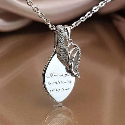 Every Tear Holds a Memory of You Angel Wing Teardrop Necklace