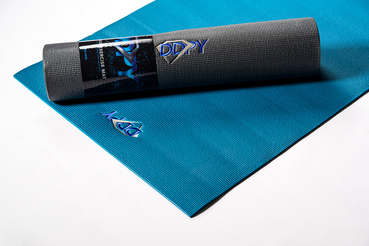 "DDP Yoga 85"" Embroidered Premium Mat Charcoal"