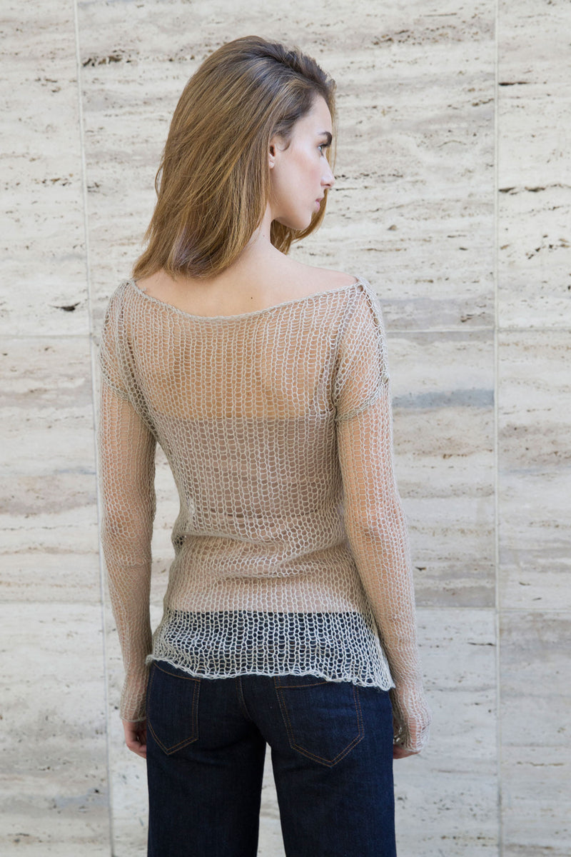 Marcellamoda-Beige-Wool-Knit-Sweater
