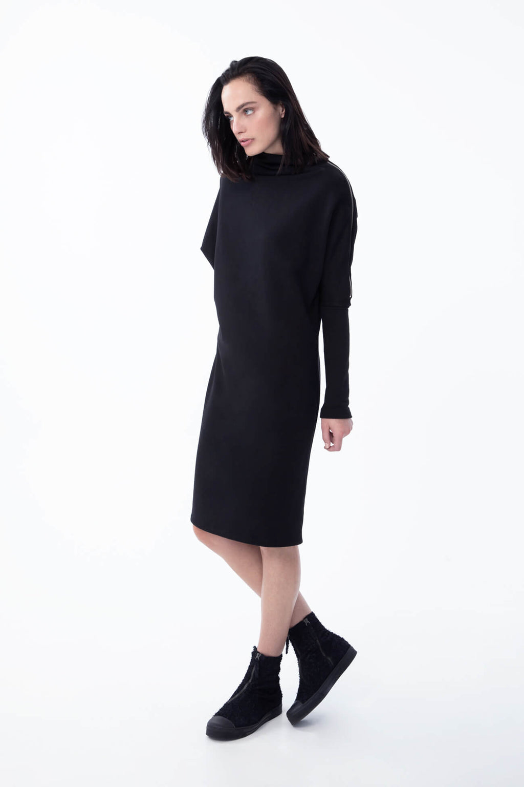 Marcellamoda-Black-Batwing-Sweater-Dress #Black D