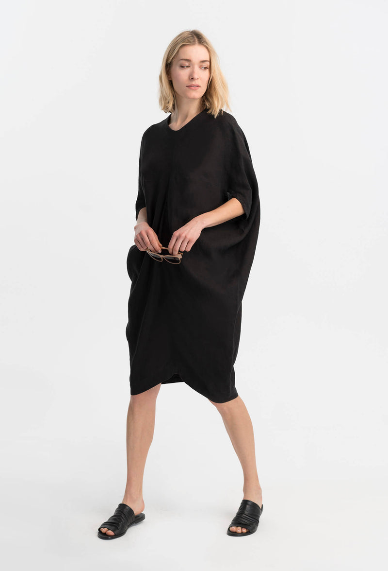 Marcellamoda-Black-Loose-Bat-Sleeves-Dress