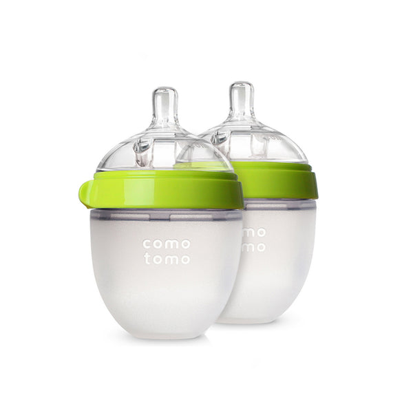 Comotomo Bottles -Green, 5 Oz., 2 Count