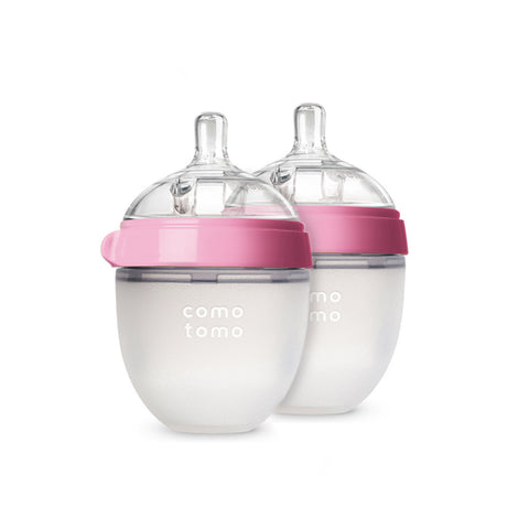 Comotomo Baby Bottle, Pink, 5 oz., 2 Count