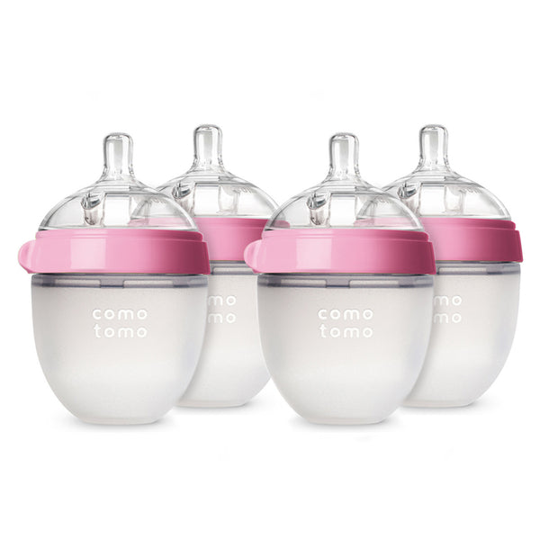 Comotomo Bottles - Natural Feel Bundle - Pink, 5 oz., 4 count