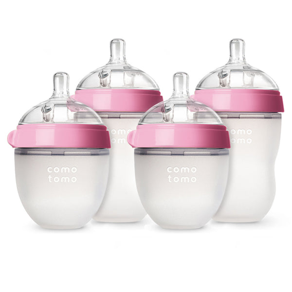 Comotomo Bottles - Natural Feel Bundle - Pink, 5 oz and 8 oz, 4 ct.
