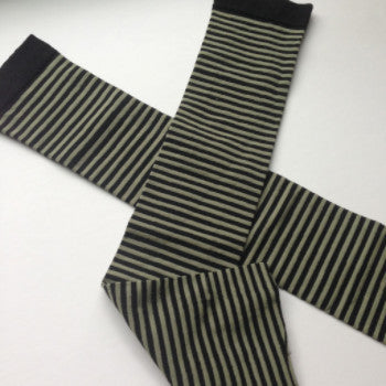 Sage green and black striped KISO sleeves