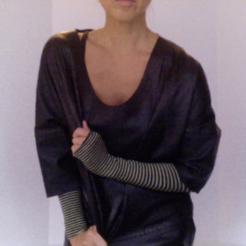 Striped KISO sleeve with leather top