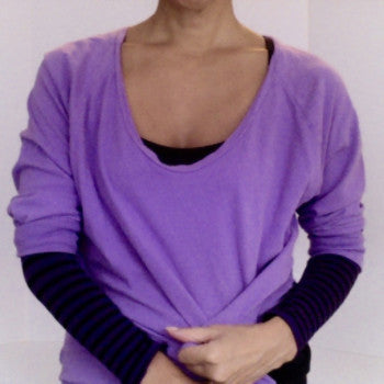 Purple striped KISO sleeve, flashdance sweatshirt, active, dance