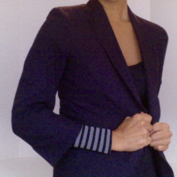 Striped KISO sleeve, 3/4 office jacket