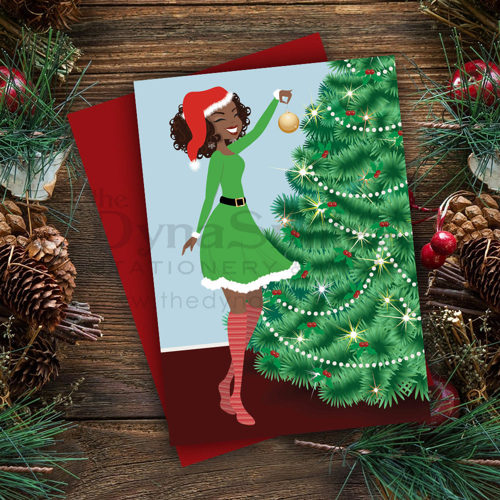 """Time To Decorate"" Christmas Greeting - Folded 5x7 Metallic Card (1pc)"