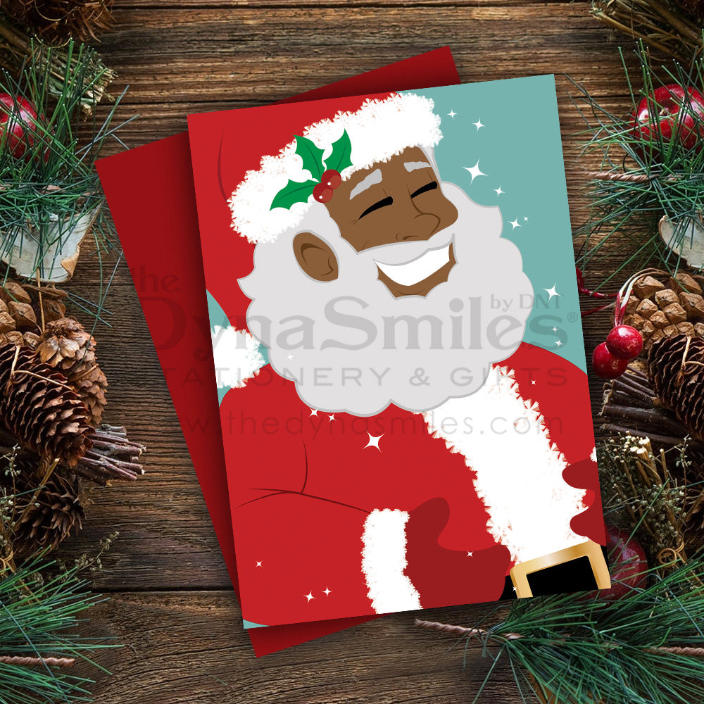 """It's Santa"" Christmas Greeting - Folded 5x7 Metallic Card (1pc)"