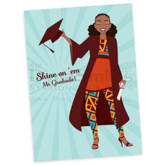 Naturally Shining Grad Greeting Card (1pc) - TheDynaSmiles.com - African American Stationery